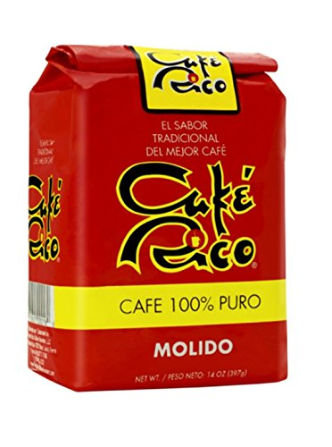 Cafe Rico Ground Regular Puerto Rican Coffee, 14 Ounce Bag (4 Pack)