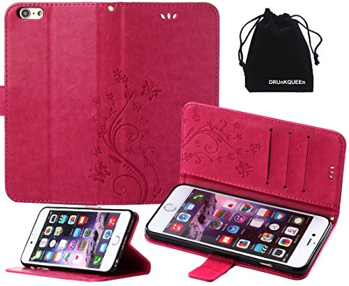 iPhone 6s Plus Case, iPhone 6 Plus Case, DRUnKQUEEn Premium Quality Protective Flip Folio PU Leather Cover Wallet Phone Holder with Foldable Kickstand for Apple iPhone 6Plus / iPhone 6sPlus