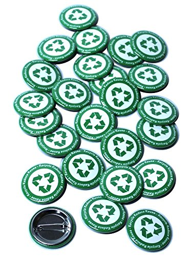 Recycle Buttons Pinback Buttons - 1.5 Inch Round - 25 Pack ()