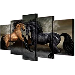 Horses Posters and Prints Modern Landscape Painting Pictures Wall Art for Living Room, Home Decor Gallery-wrapped Canvas Art 5 Piece Set Framed Ready to Hang (60''W x 32''H)