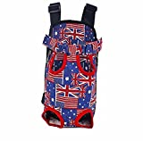Gracefur Pet Front Backpack Carrier Cute Legs Out Top-Load Dog Travel Carrier Adjustable and Protable for Dogs, Cats, Small Pets Flag S