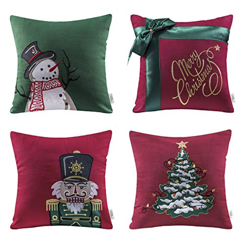 Ashler Set of 4 100% Cotton Snowman Bow & Soldier Christmas Tree Throw Pillow Covers 18