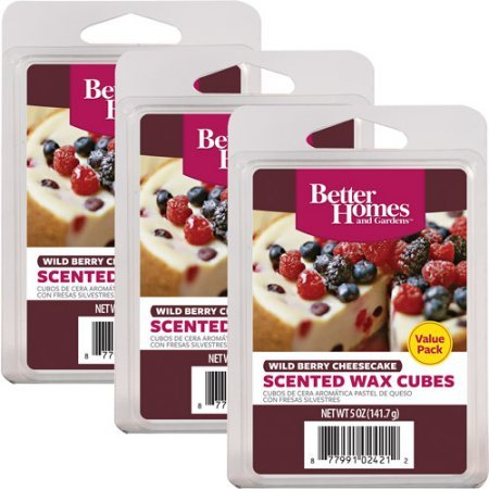3 Pack Wild Berry Cheesecake Better Homes and Gardens Wax Cubes Value Pack (36 Wax Cubes)