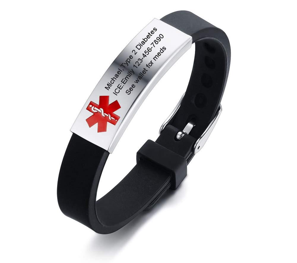 VNOX Free Engraving Stainless Steel Medical Alert Cuff Adjustable Sport Bracelet Wristband Men Women