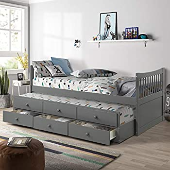 Amazon Com Twin Captain S Bed Storage Daybed With Trundle
