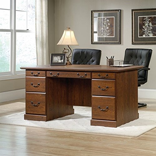 Sauder Orchard Hills Executive Desk in Milled Cherry - Executive Cherry