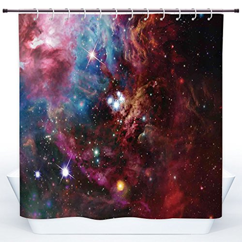 Durable Shower Curtain,Space Decorations,Space Nebula with Star Cluster in the Cosmos Universe Galaxy Solar Celestial Zone,Teal Red Pink,Polyester Shower Curtains Bathroom Decor Set with Hooks by SCOCICI