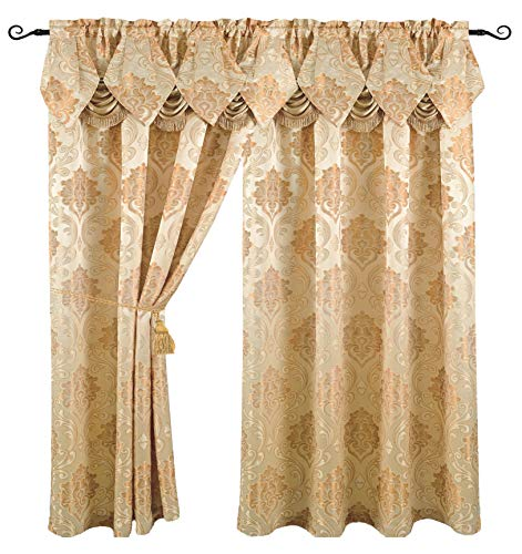 (Luxury Jacquard Curtain Panel with Attached Waterfall Valance, 54 by 84-Inch Angelina Beige)