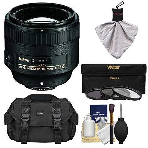 Nikon 85mm f/1.8G AF-S Nikkor Lens with 3 UV/CPL/ND8 Filters + Case + Kit for D3200, D3300, D5200, D5300, D7000, D7100, D610, D800, D810, D4s DSLR Cameras