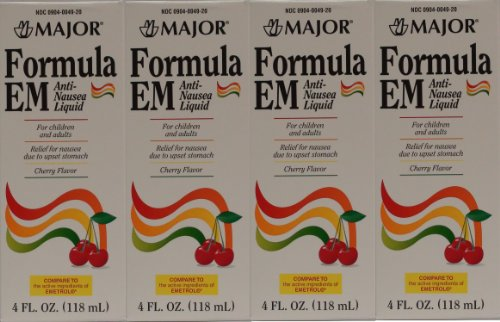 Formula EM Generic for Emetrol Nausea & Upset Stomach Relief Cherry Flavor 4 oz. Bottle Pack of 4 Total 16 oz.