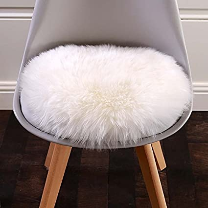 Cuteshower Round Faux Fur Sheepskin Rugs Soft Plush Seat Cover Cushion  Cover For Chair Living U0026