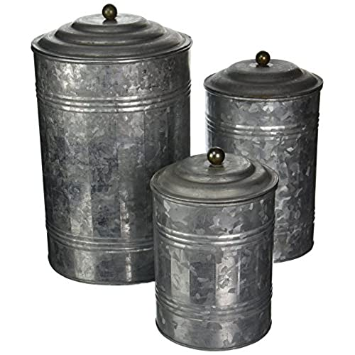 Deco 79 Metal Galvanized Canister, 11 By 9 By 7 Inch, Set Of 3