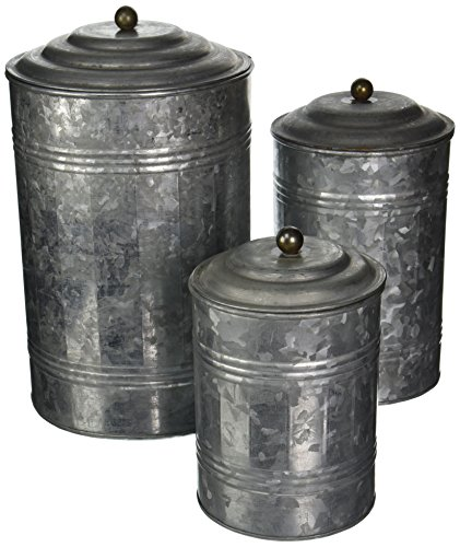 Deco 79 Metal Galvanized Canister, 11 by 9 by 7-Inch, Set of 3
