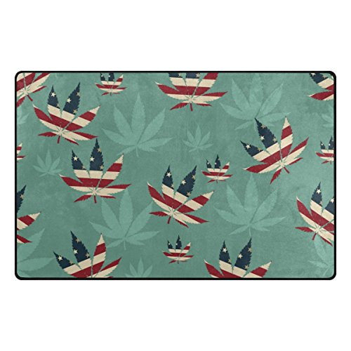 My Daily Marijuana Leaf Of Cannabis American Flag Area Rug 3