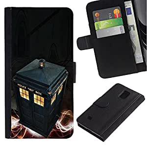 YiPhone /// Tirón de la caja Cartera de cuero con ranuras para tarjetas - Policía Call Box - Samsung Galaxy Note 4 IV