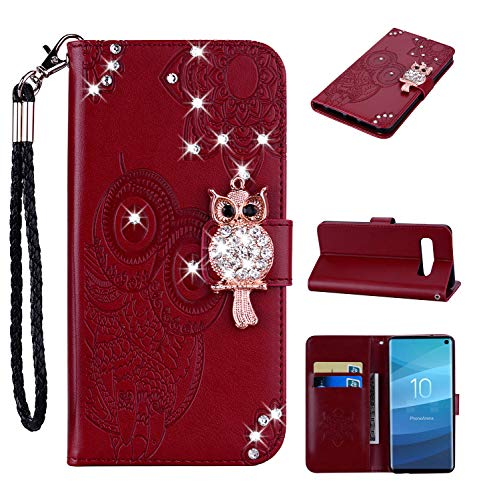 Amocase Wallet Case with 2 in 1 Stylus for Samsung Galaxy S10 Plus,3D Bling Gems Owl Magnetic Mandala Embossing Premium Strap PU Leather Card Slot Stand Case for Samsung Galaxy S10 Plus - Red Brown