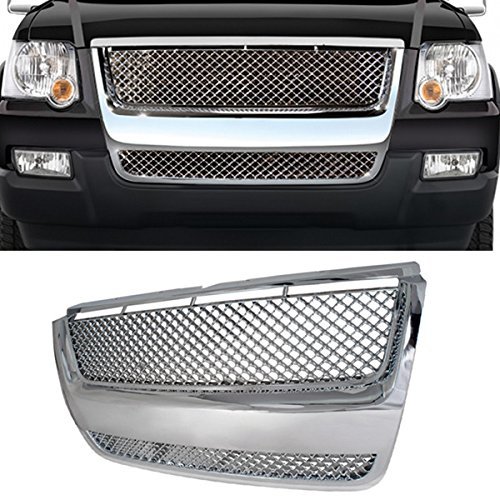VioGi 1pc Chrome Strong ABS Plastic Badgeless Mesh Style Front Hood/Bumper Grille Fit 06-10 Ford Explorer / 07-10 Ford Explorer Sport Trac