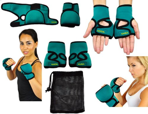 Nayoya Weighted Gloves - 1 Pound Each Glove for Sculpting MMA Cardio Aerobics Hand Speed Coordination Shoulder Strength and Kickboxing - Neoprene Boxing Gloves
