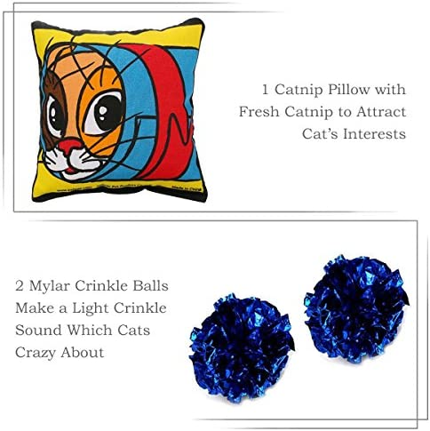upsimples Cat Toys Including Cat Teaser Wand Interactive Feather Toy Fluffy Mouse Mylar Crinkle Balls Catnip Pillow for Kitten Kitty 8