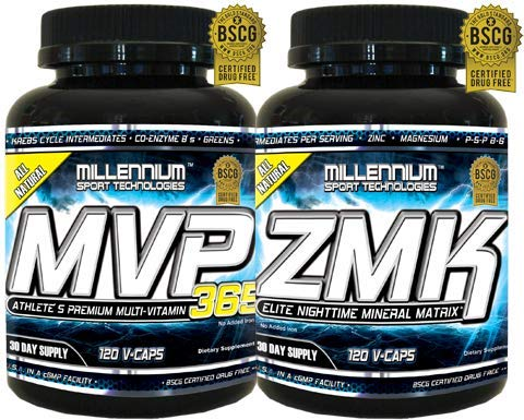 Millennium Sport Technologies, Foundation Stack Includes ZMK Nightime Mineral, Multi-Mineral, 120 VCaps and MVP-365 Multiple Vitamin, Krebs Cycle, L-5 Methyl, 120 VCaps, BSCG Certified Drug Free