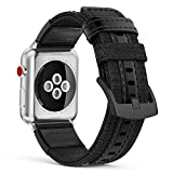 MoKo Band for Apple Watch Series 3 Bands, Soft Canvas Fabric Replacement Leather Sports Strap + Watch Lugs for iWatch 42mm 2017 series 3 / 2 / 1, Black (Not fit 38mm Versions)
