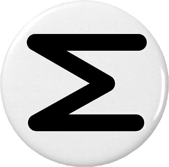 Amazon Sigma Symbol Sign Pinback Button Pin Greek Letter Math