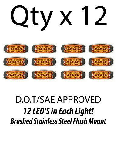 12- Amber 12 LED Sealed Side Marker Clearance Light Fish Shape Truck Trailer 12V