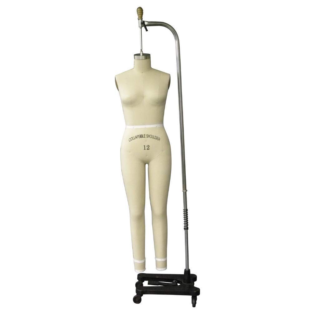 Female Professional Dress Form Mannequin for Sewing with Collapsible Shoulders Size 8 and Adjustable Base Arm
