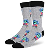 Men's Novelty Crazy Funny Space Alien Crew Socks Rock and Roll Punk Style Cotton Socks in Grey