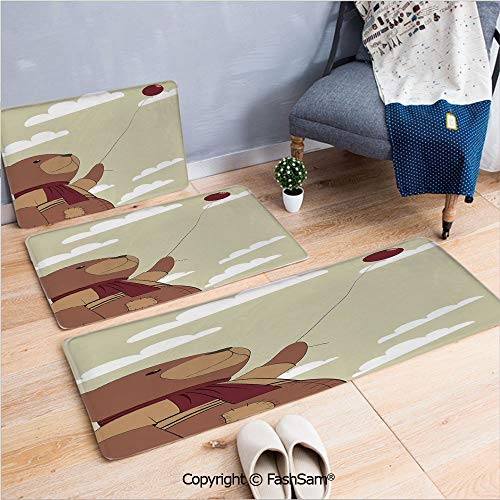 FashSam 3 Piece Non Slip Flannel Door Mat A Melancholic Teddy Bear with Scarf Holding a Balloon Clouds in The Sky Clipart Indoor Carpet for Bath Kitchen(W15.7xL23.6 by W19.6xL31.5 by W35.4xL62.9)