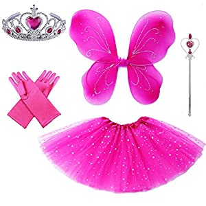 4 PC Girls Sparkling Magic Hot Pink Fairy Princess Set Butterfly Wings Tutu Wand Crown(hot Pink Butterfly)