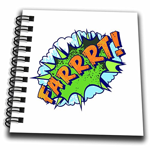 3dRose Russ Billington Designs - Silly Words- Farrrt- Comic Book Typography in Blue Green and Yellow - Mini Notepad 4 x 4 inch (db_262237_3)