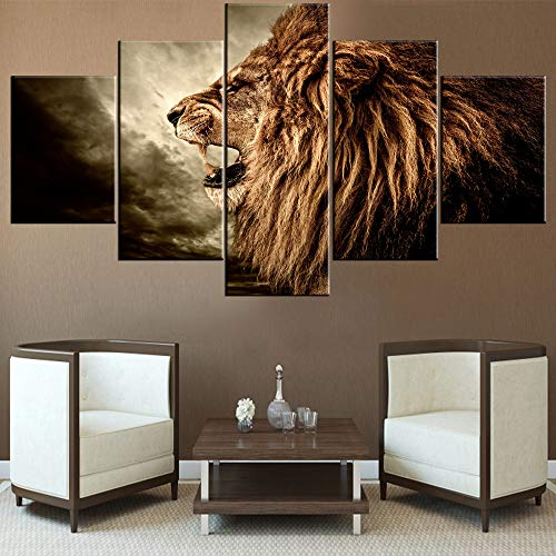 Wall Decorations for Living Room Brown Howling Lion Paintings Black Sky Scape Pictures 5 Piece Canvas Wall Art Contemporary Artwork House Decor Framed Ready to Hang Posters and Prints(60''Wx32''H) ()