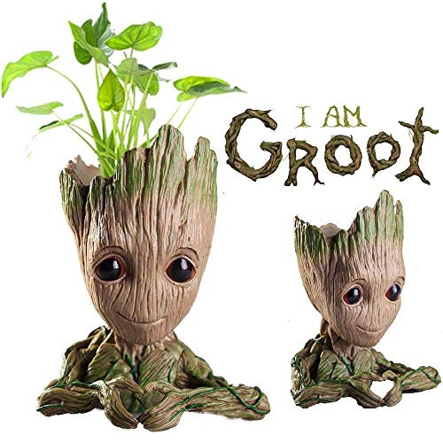 WISE MODEL Baby Groot Planter Treeman Action Figures Guardians of The Galaxy Flower Pot,Creative Star-Lord Pen Holder Desk Organizer Accessories,Best Cute Pencil Pot Gift. (Finger Heart Sign)
