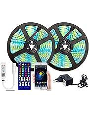 LED-stripverlichting LED rgbww verlichting 15m waterdichte diode tape 25m 5050 rgb led strip luces led applicatie + bluetooth adapter licht voor kamer LED-verlichting touwlichten