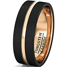 Mens Wedding Band Brushed Black Tungsten Ring 8mm Rose Gold Groove Flat Edge Comfort Fit
