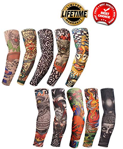 Arm Tattoo Sleeves Temporary Fake UV Arm Sleeves for Men Cover Body Art Stockings Summer UV Protection Arm Sunscreen Accessories Designs Tiger, Crown Heart, Skull, Tribal and Etc 10PCS