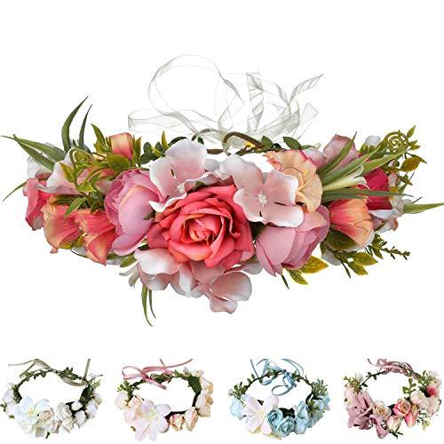 Handmade Adjustable Flower Wreath Headband Halo Floral Crown Garland Headpiece Wedding Festival Party (D12-pink(AD1007))