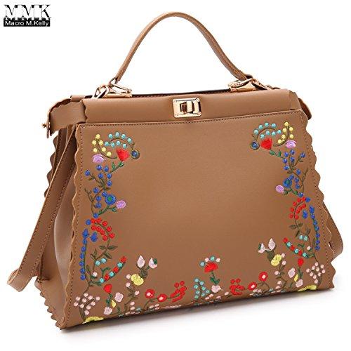 Twist Lock Handbag Hobo (MMK Collection 2018 Fall&Winter Embroidered Flower Design Style for Women~Design Double twist lock closure Satchel Handbag~Hobo~Satchel Handbag (MA-XL-21-7490-FL/TN))