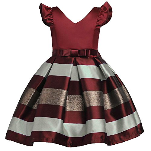 Tueenhuge Baby Toddler Girls Ruffles Stripe Bowknot Formal Princess Dress Christmas Costume (Wine Red, 3-4 Years) Red Stripes Wine
