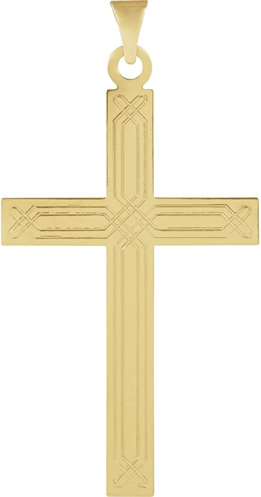 Jewels By Lux 14K Yellow Gold 22.00X14.00 mm Polished Cross Pendant W//Design