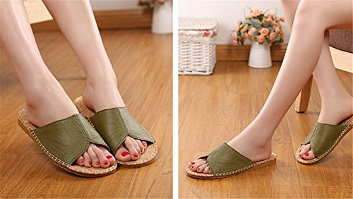 Slippers Summer Leather Spring Floor Corium Men Vert Cowhide W for TELLW Smelly Autumn Anti Women Wooden SAwvqqxXpn
