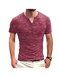 JXClothing Men Cotton Slim Solid Henley T-Shirt Polo Short Sleeve Button Placket Neck