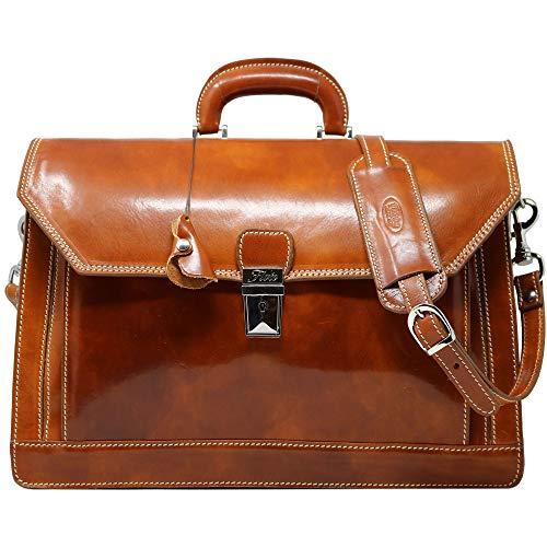 (Floto Venezia Olive (Honey) Brown Briefcase Attache Lap-top Case)