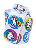 #6: 100 Unicorn Stickers: Roll of One Hundred (100) Stickers With Various Unicorn Designs - Easy To Peel & Remove - Great Addition To Unicorn Theme Birthday Party Favors, Supplies & Goody Bags