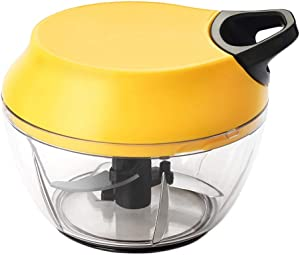 Household Small Meat Grinder Plastic Complementary Food Twisting Machine Manual Mincer Machine Hand Pull Twisting Machine (Color : Yellow)
