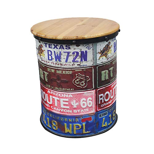 Ailj Bar Chair, Vintage Oil Drum Stool United States Rural Storage Stool Decorative Tin Bucket Bar Stool 2 Colors (Color : A)
