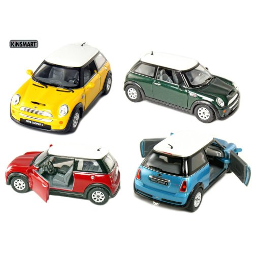 "Set of 4: 5"" Mini Cooper S 1:28 Scale (Blue/Green/Red/Yellow) by Kinsmart"