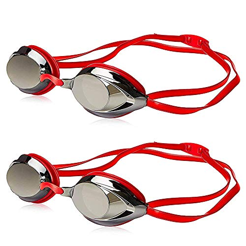 Uniq Fliker Swim Goggles, Professional Competitive Swim Racing Goggles for Speedo Swim Competiton with Multi-Color & Shape (Red 2 Pack)