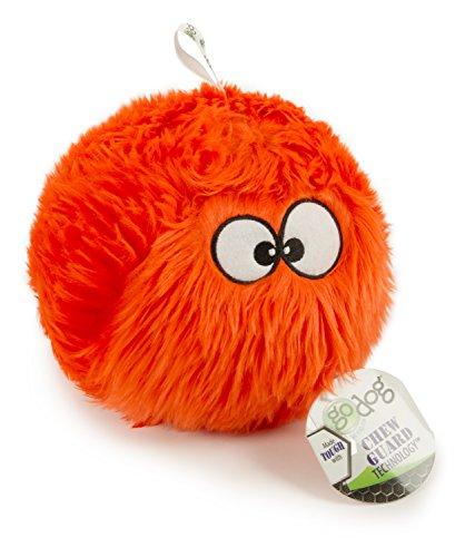 goDog Furballz Tough Plush Dog Toy with Chew Guard Technology, Orange, Large